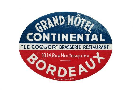 Etiquette Grand Hôtel Continental de Bordeaux